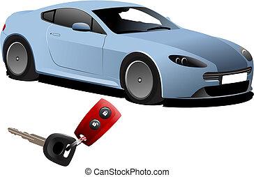 Blue car sedan on the road. Vector