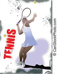 tênis, jogador, cartaz, colorido, Vect