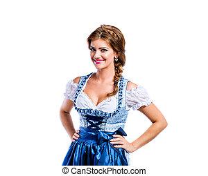 Beautiful woman in traditional bavarian dress