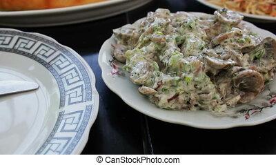 Adjarian Khachapuri Georgian Cuisine in the Restaurant....
