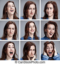 Set of young woman's portraits with different emotions on...