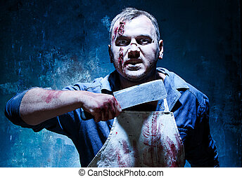 Bloody Halloween theme: crazy killer as butcher with a knife