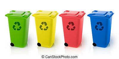 Recycle bins - Various trash bins with recycle symbol,...