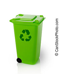Recycle bin - Green trash bin with recycle symbol, isolated...