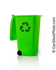Recycle bin - Open trash bin with recycle symbol isolated on...