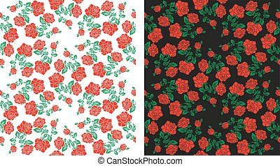 Two color images of flowers (roses) using traditional...