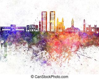 Casablanca skyline in wb - Casablanca skyline in watercolor...