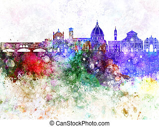 Florence skyline in wb - Florence skyline in watercolor...