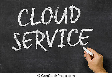Cloud Service written on a blackboard