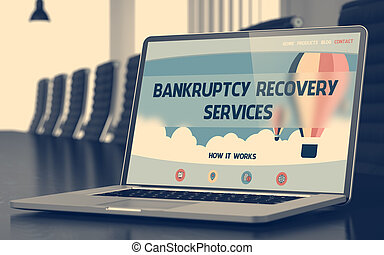 Bankruptcy Recovery Services on Laptop in Meeting Room -...