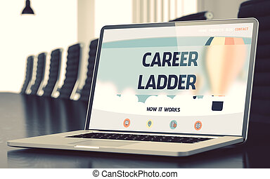 Landing Page of Laptop with Career Ladder Concept.