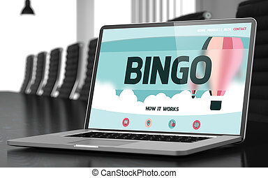 Bingo on Laptop in Conference Room 3D Rendering - Bingo on...