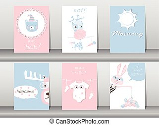 Set of cute animals poster,template