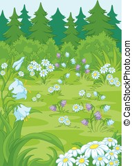 Forest Glade - Illustration of a forest glade, there are...