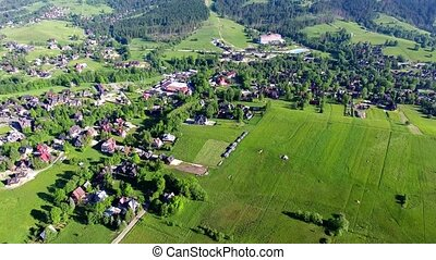 green montains valley aerial view - aerial view of green...