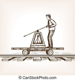 Railway draisine sketch style vector illustration - Man...