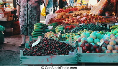 Vegetables for Sale at Market - Farm fruit market. Showcase...