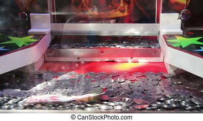 Slot Machine with Coins on the Street. Full HD 1920 x 1080,...