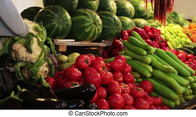 Showcase Vegetables - Vegetables on the counter market....