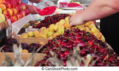 Fruits Market - Showcase Fruits. Woman chooses fruits on...