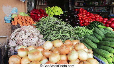 Fruits and Vegetables Market - Farm fruit market. Showcase...