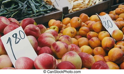 Fruit and Vegetable Market - Farm fruit market. Showcase...