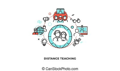 Online studying linear animation concept - Distance teaching...