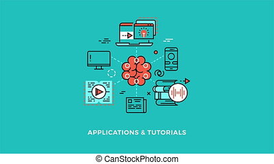 Education online applications and tutorials logo concept -...