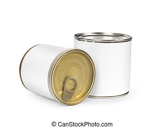 Metal can for preserved food on white background, clipping...