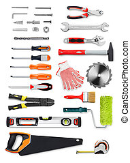 Work tools - Selection of work tools on white background