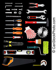 Work tools - Selection of work tools on black background
