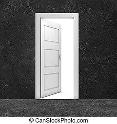 The way out - Open door in a dark room