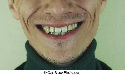 Adult man pronounce words in front camera Mouth Teeth...
