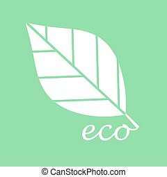 White eco leaf on green background