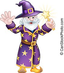 Wizard Cartoon Character - A cartoon Halloween wizard...