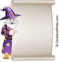 Cartoon Wizard Halloween Scroll Sign