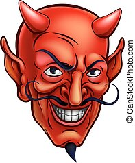 Devil Face Cartoon - Cartoon red devil satan or Lucifer...