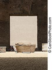 antiga, sarcófago, em, a, banhos, de, Diocletian, em, Roma,...