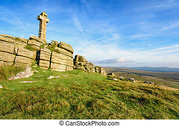 Brat Tor on Dartmoor - A stone cross at the top of Brat Tor...