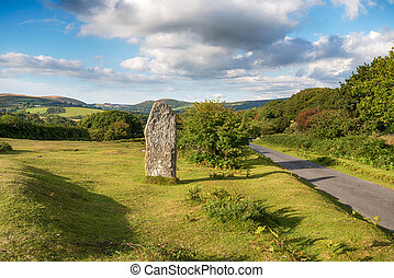 Leusdon on Dartmoor - A standing stone commemorating the...