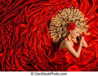 Woman Red Dress Beautiful Fashion