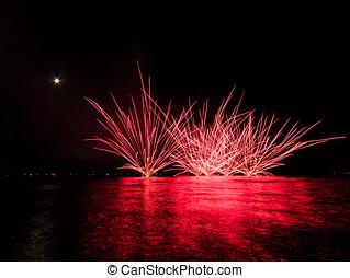 Fireworks on sea