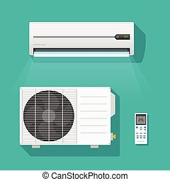 Air conditioner units vector set isolated on green color background