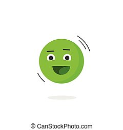 Happy smiling emotion icon vector isolated, flat emoji face...