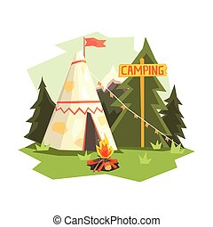 Camping Place With Bonfire, Wigwam And Forest. Cool Colorful...