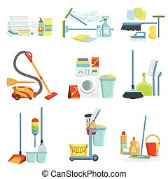 Cleaning Household Equipment Sets. Clean Up Special Objects...