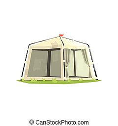 White Sportive Camping Tent Cool Colorful Vector...