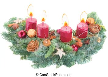 advent wreath with burning candles - Low poly illustration...