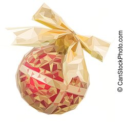 Golden with red Christmas ball