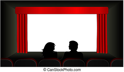 At The Movies Vector - Vector illustration of a couple in...